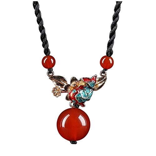 QZH Collares para Mujeres Niñas Colgante de ágata roja Vintage Cloisonne Accesorios de Ropa Collar de Hebilla de Cuerda Doble Hecho a Mano Circunferencia 17.3 Pulgadas (Rojo) Gargantilla Collare