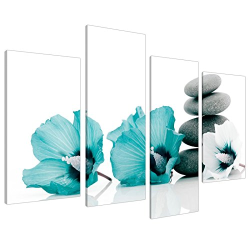 Top Teal  and White Floral Canvas Wall Art
