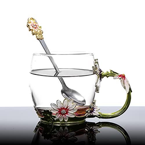 Taza de vidrio, tazas de café de vidrio Taza de té de flores esmaltadas con cuchara Paño de limpieza para regalo para restaurante para el hogar para la oficina(Green Chrysanthemum 320ML)