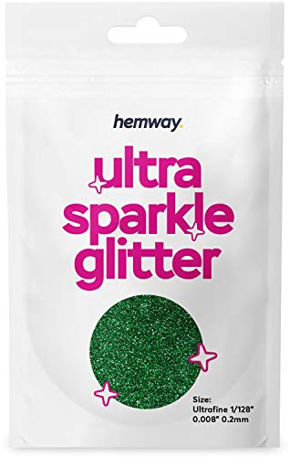 "Hemway Ultra Sparkle Glitter - Ultrafine 1/128"" .008"" 0.2mm - Emerald Green - Cosmetic Safe, Fine Slime, Crafts, Weddings, Decorations, Art, Beauty, Decoration Scrapbooking - 10g Sample"