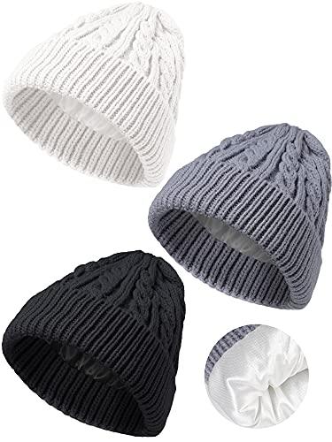 3 Sombreros de Punto de Invierno Gorro con Forro Satén para Niño de 3 a 12 Años