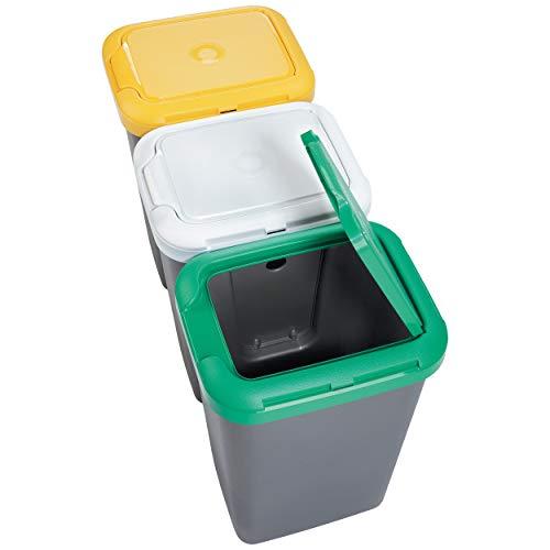 Productos Del Hogar Ideal para Hogar/Oficina/Interior/Exterior Papelera Reciclaje 3 Compartimentos, 75 litros Capacidad Total, 78,5 (Ancho) x 33 (Profundo) x 47,5 (Alto) cms-plástico-Multicolor