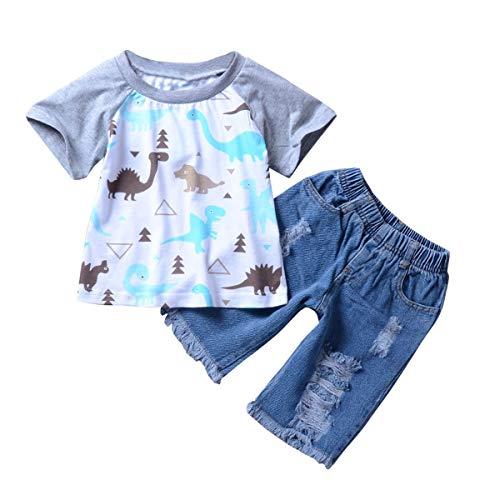 HaiQianXin kinderkostuum voor jongens, dinour, bedrukt, grijs, mouw/zwart, T-shirt + jeans met gat (kleur: Grey Sleeve, jeans, maat: 4-5T)
