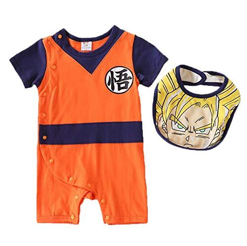 Mono de Manga Corta para bebé Dragon Ball Goku Mameluco para bebé Mono Lindo de algodón + Baberos Conjunto de 2 Piezas