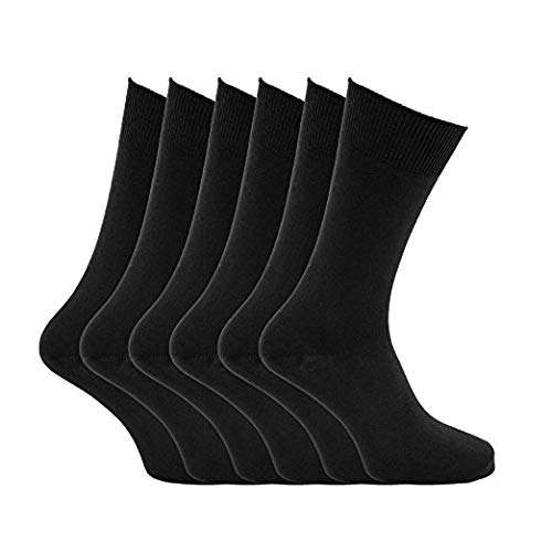 Womens Ladies Socks Gentle Grip Non Elastic Soft Cotton Plain White Black 3 6 12