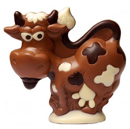 06#123020 Schokoladen Kuh, aus Vollmilch Schokolade, Taufe, Geburt, Tortenverzierung, Hochzeit, Schokoladen, Torte