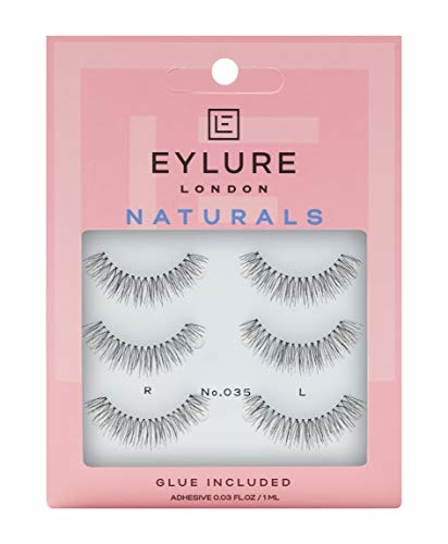 """Eylure Naturals False Eyelashes, Style No. 035, Reusable, Adhesive Included, 3 Count"""" Packaging may vary"""