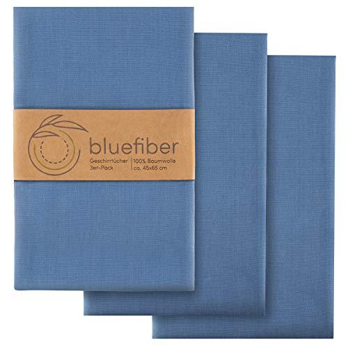 Bluefiber Geschirrtücher 3er Set (Faded Denim) - 65x45cm - aus 100% Baumwolle - mit 2 Aufhängern für schnelleres Trocknen - nachhaltig, schlicht & langlebig - für glänzend sauberes Geschirr