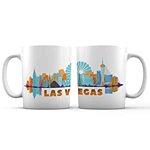 Las Vegas City Iconic Fabulous View Ceramic Coffee Mug - 11 oz. - Awesome Design Colorful Souvenir Cup for Tourists, Men and Women from