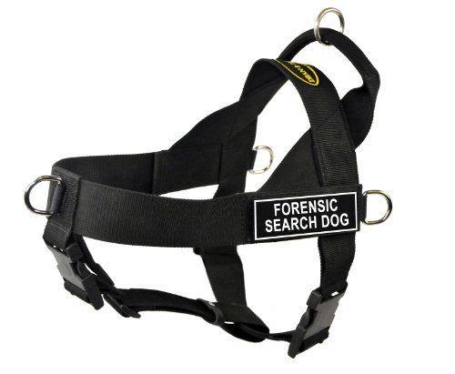Dean & Tyler Universal No Pull 26-Inch to 32-Inch Dog Harness, Medium, Forensic Search Dog, Black