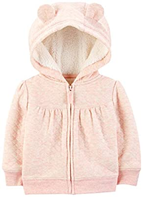 Simple Joys by Carter's Girls' Hooded Sweater Jacket with Sherpa Lining, Pink, 6-9 Months