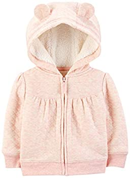 Simple Joys by Carter s Girls  Hooded Sweater Jacket with Sherpa Lining Pink 0-3 Months
