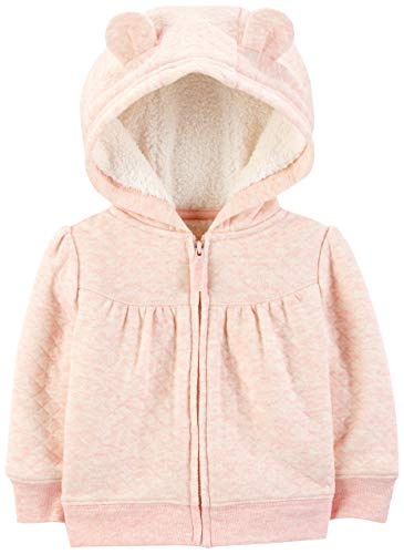 Simple Joys by Carter's Girls' Hooded Sweater Jacket with Sherpa Lining, Pink, 3-6 Months