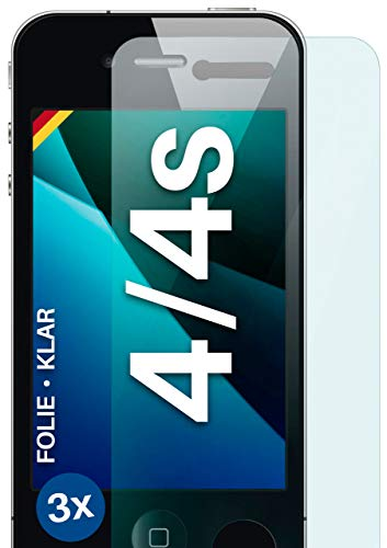 moex Klare Schutzfolie kompatibel mit iPhone 4s / iPhone 4 - Bildschirmfolie kristallklar, HD Bildschirmschutz, dünne Kratzfeste Folie, 3X Stück