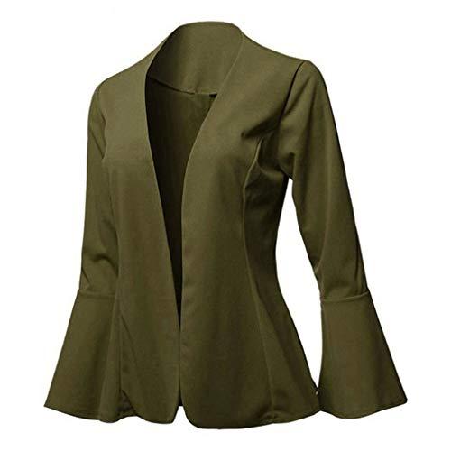 Kaiki Vintage Bell Langarm Jacke Mantel kragenlose lose offen Kurze Strickjacke Work Office Jacke Windmantel Outwear (S, Armee Grün)