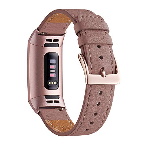 WFEAGL Compatible for Fitbit Charge 3/3 SE Fitness Activity Tracker, Top Grain Leather Band Strap Wristband Replacement of Many Colors (Laverder Band+Rose Gold Adapter)