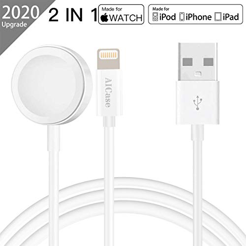 AICase Charger para Apple Watch, 2 en 1 Cargador Magnética para iWatch Cargador Magnética para el Apple Watch Series 5/4/3/2/1,38mm,40mm,42mm,44mm y iPhone 11 MAX Pro/XR/XS