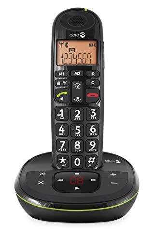 Doro PhoneEasy 105wr Téléphone Sans Fil pour Seniors avec Grandes Touches, Son Amplifié et Répondeur Intégré (Noir) [Version Française]