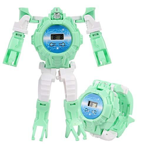 ZHURGN Kinder Roboteruhr, Kinderspielzeug 2-in-1 Verformungsuhr Roboter, Cartoon Kreative Handtransformatoren Spielzeug, Neuheit Verformung Spielzeug Für Jungen Mädchen (Color : Grün)