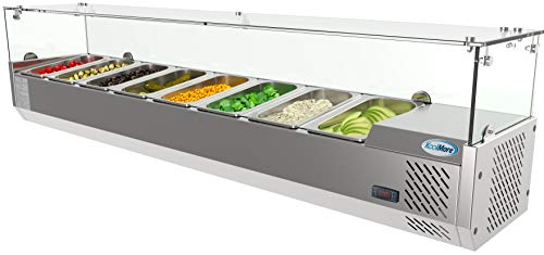KoolMore Refrigerated Countertop Condiment Prep Station with Glass Sneeze Guard - Includes Eight 1/4 Pans, Silver, 71 Inch (SCDC-8T)