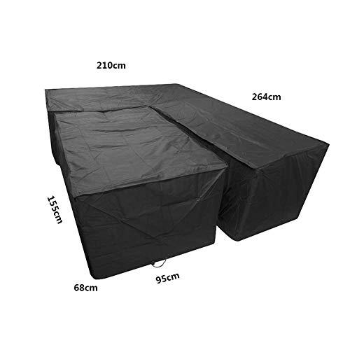 EDLSY L Form Abdeckung Für Gartenmöbel Eckmöbel L Form Staubschutz Schwarz Oxford Tuch 210D Daten Winter Abdeckung Schirme Wetterfeste