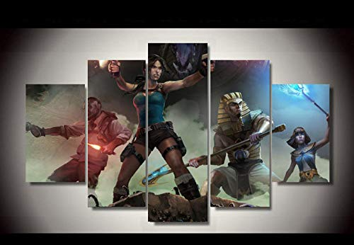 SZQY 5 Stück Leinwand Gedruckt Wandbilder Wohnkultur Wohnzimmer Poster Fresko Poster Leinwand Lara Croft Und Der Tempel des Osiris