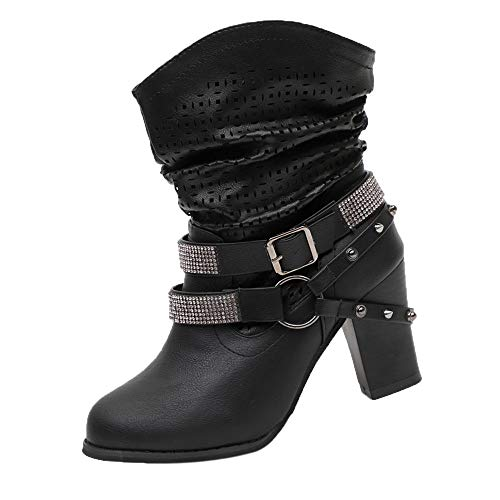 VJGOAL Damen Stiefel, 8CM Damen Mode aushöhlen Partei Knöchel Absatz halb Stiefel Damen Herbst Winter High Heel Wedges Schuhe (Schwarz, 39)