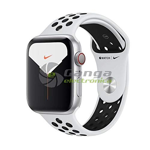 Watch Nike Series 5 GPS + Cellular - Cassa in alluminio color argento con Cinturino Nike Sport Platino/Nero (44 mm)