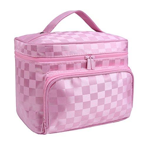 Sac à cosmétiques portable trousse de toilette imperméable à rayures pour voyage (rose)