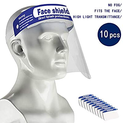 HUAAKE Safety Face Shield,Adjustable Anti-Fog Dental Full Face Shield with Protection from spray and splatter for Women Men?10 Pack?