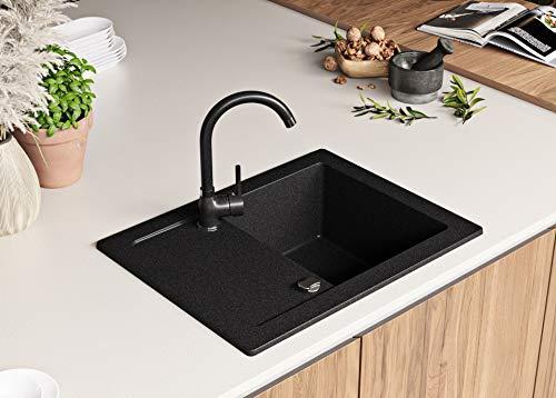 Granitspüle mit Siphon Ibiza Einbauspüle Spülbecken Graphit Küchenspüle Unterschrank Küche ab 45cm Spüle aus Granit mit Ablaufgarnitur Drehexcenter und Überlauf von Primagran