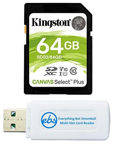 Cartão de memória Kingston SD Canvas Select Plus 64 GB para câmera, filmadora digital, câmera de trilha, computador - Classe 10 UHS-1 SDS2/64 GB pacote com (1) leitor de cartão micro e SDXC