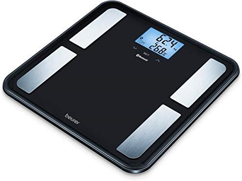 Beurer BF 850 diagnoseweegschaal, extra groot loopvlak, verbinding van smartphone en weegschaal via app, bepaling van lichaamsvet, spierpercentage, zwart