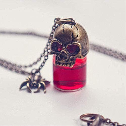 ZJJLWL Co.,ltd Necklace Necklace Rinhoo Charms Pendant Glass Necklace for Women Couple Character Jewelry Gift Halloween Joke Necklace Gothic Retro Blood Bottle Necklace Gift