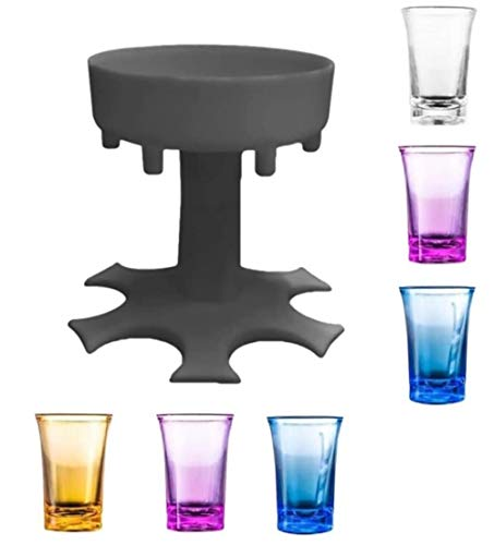 Weinglasspender für 6 Flaschen, Weinglasspender und Halter, Set, für 6 Flaschen, Weinglas-Spender, Partygeschenk, Trinkspiel, mit Tasse × 6 Grau