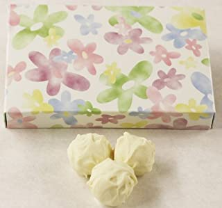 Scott's Cakes White Chocolate Covered Pineapple Marzipan Truffles in a 8 oz. Daisy Box