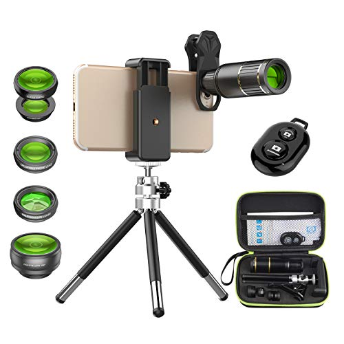 Apexel Camera Phone Lens Kit -Remote Shutter+ Phone Tripod+ 6 in 1 Phone Lens -Metal 16X Telephoto...