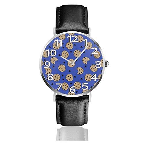 Reloj de Pulsera Galleta con chispas de Chocolate Azul Durable PU Correa de Cuero Relojes de Negocios de Cuarzo Reloj de Pulsera Informal Unisex