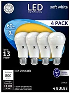 General Electric 61986 4PK WHT 4 Pack 9W Soft White A19 Shape LED Light Bulb