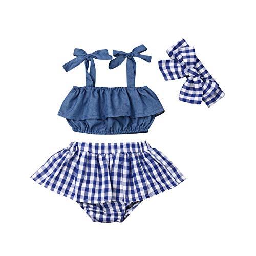 Conjunto de verano para bebé, 3 piezas, camiseta sin mangas, tirantes de tela vaquera + falda de pantalón Bloomers corto con manta + banda turquesa 6-12 Meses