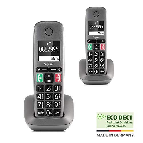 Gigaset Easy – 2 Schnurlose Senioren-Telefone mit großen Tasten und extra lauter Klingelfunktion – hörgerätekompatibel, anthrazit-grau