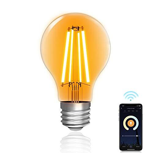 Bombilla Wi-Fi, Lumary bombillas LED vintage E27, 7W 806LM 2200K-6500K, blanco cálido y blanco regulable, compatibles con Amazon Alexa y Google Assistant