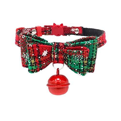 Tuimiyisou Collar De Perro Cachorro De Navidad Collares Hechos a Mano con La Pajarita Ajustable Collar De Perro Pequeño con Bell para Perros Gatos Gatito Verde S