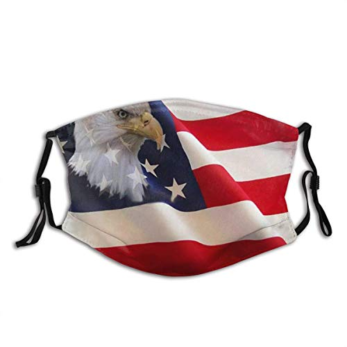 American Flag Bald Eagle The Eagle Hawk Falcon Print Cool Lightweight Breathable Comfortable Balaclava Face Mask Mouth Protection Cotton with 2 Filters for Cycling Travel Outdoors