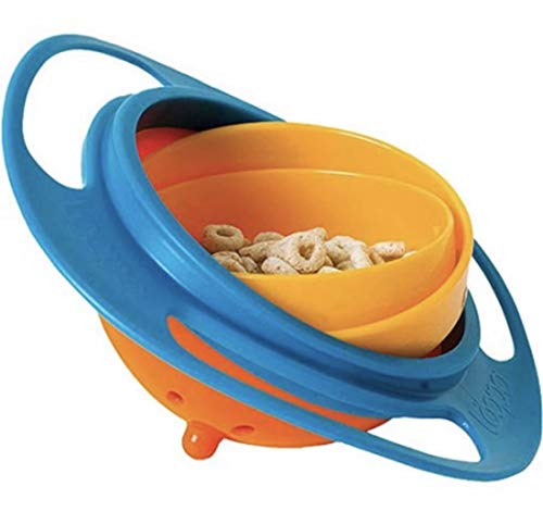 Gyro Bowl-COMETA- 360 Degree Rotation Spill Resistant Gyroscopic Bowl with Lid Toy Tableware for Kids Toddlers.(Blue)