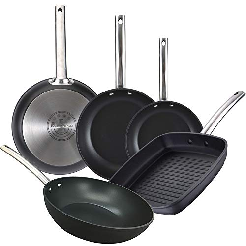 Bergner Set 5 sartenes Foodies: Ø16x3,8; Ø20x4,2; y Ø28x5,5 cms; sartén Wok de 28x7,2 cms; y Sartén Grill / asador de 28x28 cms., aluminio forjado, inducción