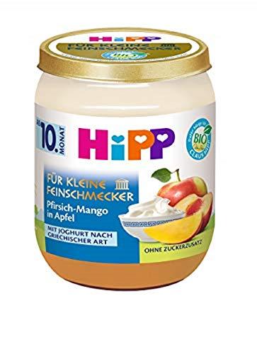 Hipp für kleine Feinschmecker Früchte-Duett, Pfirsich-Mango in Apfel mit Joghurt nach griechischer Art, 6er Pack (6 x 160 g)
