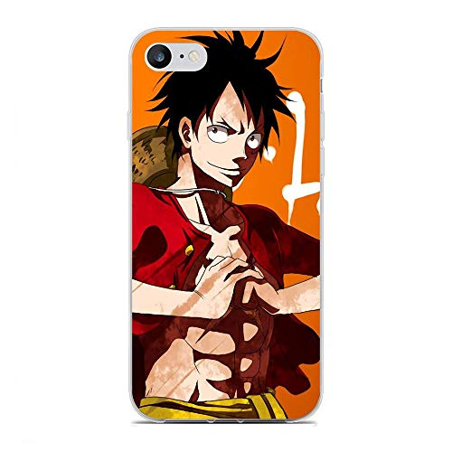 AriumClutch Soft Clear Coque Transparent Thin Rubber Shockproof Back Cover Case For Apple iPhone 7/8/SE 2020-One-Piece Luffy-Japan 9