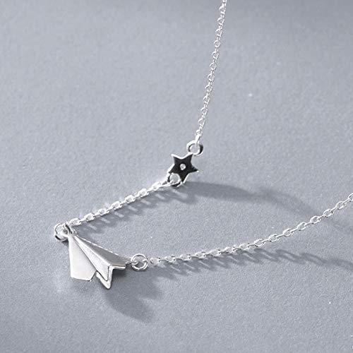 Empty 925 sterling zilver papier vliegtuig halsketting hanger voor vrouwen Fashion Party sieraden