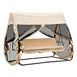 Outsunny 3 Seat Outdoor Covered Convertible Swing Chair with Fastening Mesh Netting